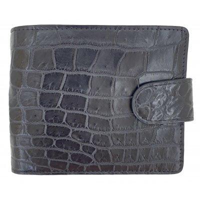 Портмоне мужское из кожи крокодила черное ALM 03/3 B Black , фото