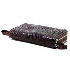 Кошелек из кожи крокодила коричневый ZAM 15 B Brown