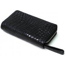 Кошелек из кожи крокодила черный ZAM 15 B Black
