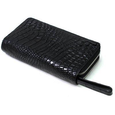 Гаманець зі шкіри крокодила чорний ZAM 15 B Black , фото