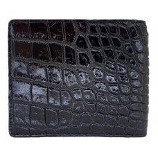 Портмоне мужское из кожи крокодила коричневое ALM 04 BS Black