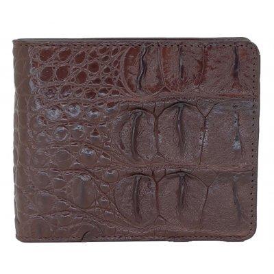 Портмоне чоловіче зі шкіри крокодила коричневе ALM 04 BS Brown , фото