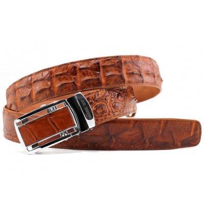 Ремень мужской из кожи крокодила коричневый 105 ALB-B Tan , фото