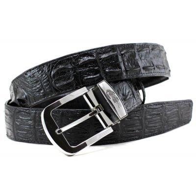 Ремінь чоловічий зі шкіри крокодила чорний 105 ALB-CL Black , фото