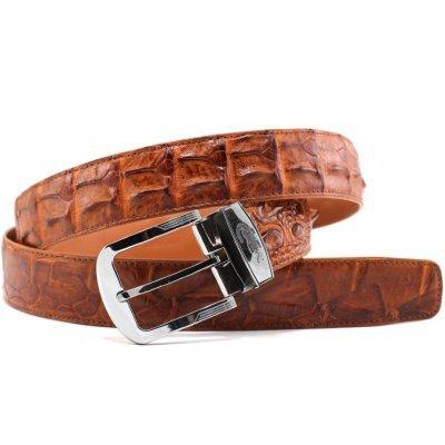 Ремень мужской из кожи крокодила коричневый 105 ALB-CL Tan , фото