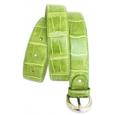 Ремінь жіночий зі шкіри крокодила 102 ALB Green , фото