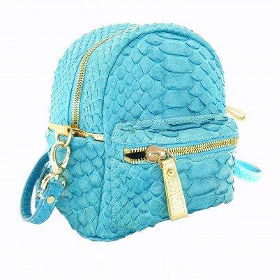 Рюкзак женский из кожи питона голубой PTR 001 Turquese