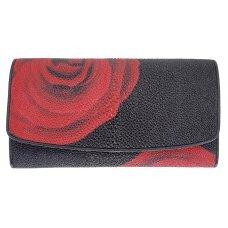 Гаманець жіночий зі шкіри ската чорний ST 52 ART Black Red Rose