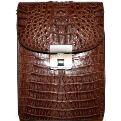 Сумка мужская из кожи крокодила коричневая MZCM 14H Brown , фото