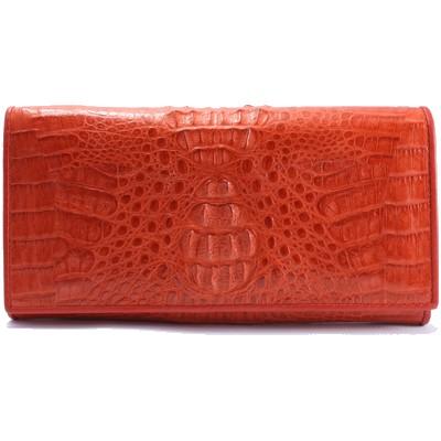Гаманець жіночий зі шкіри крокодила червоний PCM 04 Fire red , фото