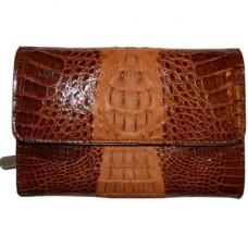 Кошелек женский из кожи крокодила коричневый PMT 81 Cognac