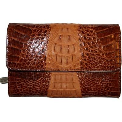 Кошелек женский из кожи крокодила коричневый PMT 81 Cognac , фото