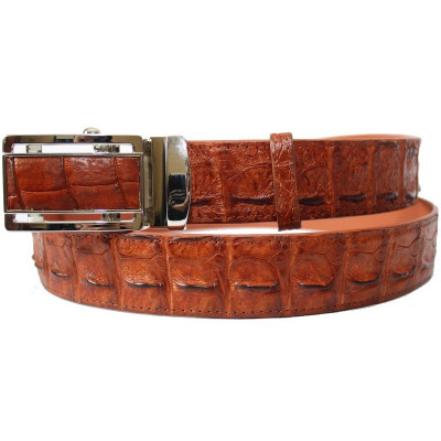 Ремінь чоловічий зі шкіри крокодила коричневий 105 ALB-B Tan