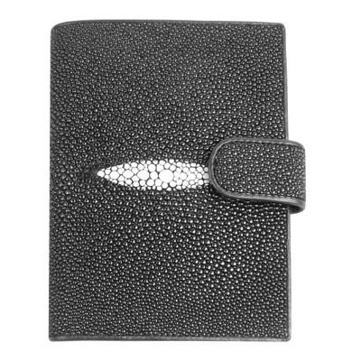 Гаманець чоловічий зі шкіри ската чорний STP001 Black