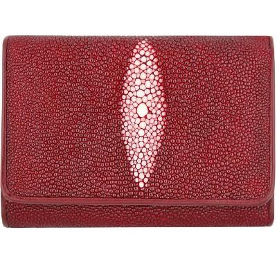Гаманець жіночий зі шкіри ската червоний PR63 Burgundy