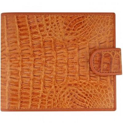 Кошелек мужской из кожи крокодила коричневый ALM 100T Tan , фото
