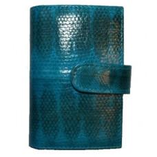 Визитница из кожи морской змеи зеленая SN 002 BE Turquoise