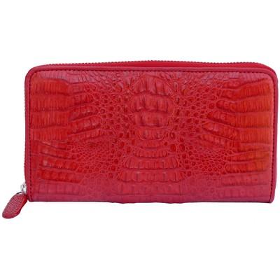Кошелек женский из кожи крокодила красный  PMD 196 Fire Red , фото