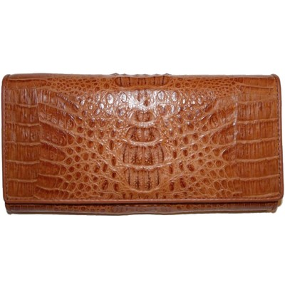 Гаманець жіночий зі шкіри крокодила коричневий PCM 04 Tan , фото
