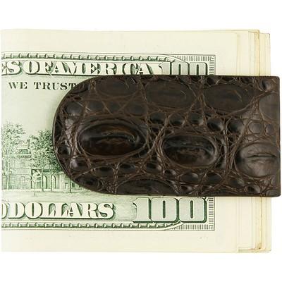 Затискач для купюр зі шкіри крокодила коричневий CMCLIP01 Oak , фото