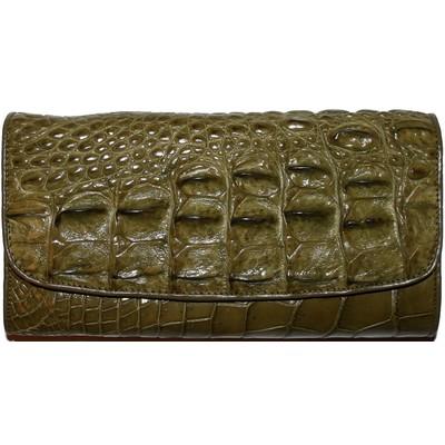 Кошелек женский из кожи крокодила зеленый PCM 03 T Khaki , фото