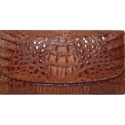 Гаманець жіночий зі шкіри крокодила коричневий PCM 03 H Brown