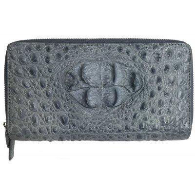 Гаманець зі шкіри крокодила сірий ZAM 15 BH Grey , фото