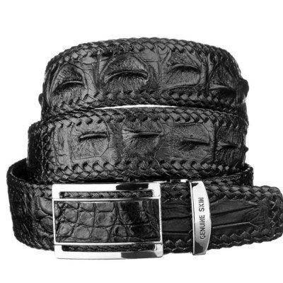Ремень мужской из кожи крокодила черный 105 ALB-RL S Black , фото