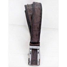 Ремень мужской из кожи крокодила коричневый 105 ALB S Brown