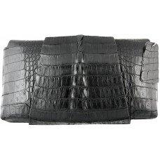 Клатч жіночий зі шкіри крокодила чорний FCM 320 Black
