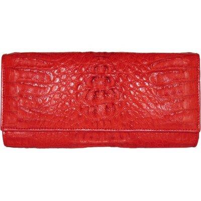Клатч женский из кожи крокодила красный FCM 215 Fire red