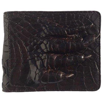Портмоне мужское из кожи крокодила коричневое ALM 03/2 PL Brown , фото