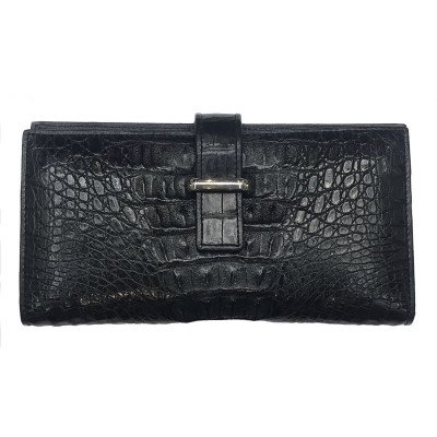 Купюрник из кожи крокодила черный CL 218T Black , фото