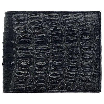 Гаманець чоловічий зі шкіри крокодила чорний ALM 03 BT Black , фото