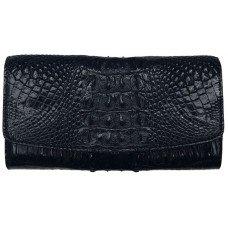 Гаманець жіночий зі шкіри крокодила чорний PCM 03 ST Black