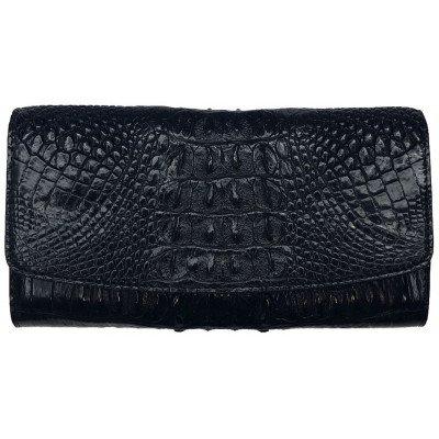 Гаманець жіночий зі шкіри крокодила чорний PCM 03 ST Black , фото