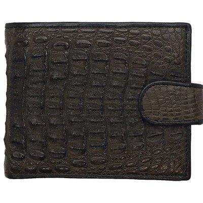 Гаманець чоловічий зі шкіри крокодила коричневий ALM 03/2 SK Brown , фото