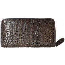 Кошелек из кожи крокодила коричневый ZAM 11 EX TH Brown