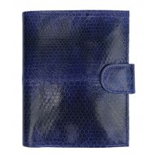 Портмоне мужское из кожи морской змеи синее SN 069 Blue