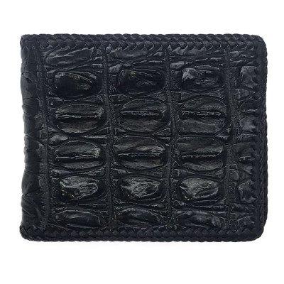 Портмоне чоловіче зі шкіри крокодила чорне ALM 03 BTS Black , фото