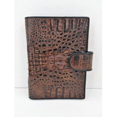 Кошелек мужской из кожи крокодила коричневый ALMP 9001T Brown , фото