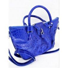 Сумка жіноча зі шкіри крокодила синя PCM 135 Blue