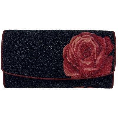 Гаманець жіночий зі шкіри ската чорний ST 52 ART Red Rose 2 , фото