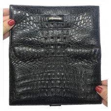 Купюрник из кожи крокодила черный CL 218T Black