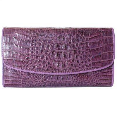 Кошелек женский из кожи крокодила фиолетовый PCM 03 H Purple , фото