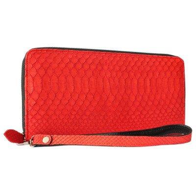 Кошелек женский из кожи питона красный PT 11 Big EX Red
