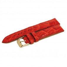 Ремешок для часов из кожи крокодила красный ALWS 01 Red