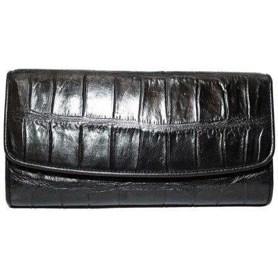 Гаманець жіночий зі шкіри крокодила чорний PCM 03 B Black , фото