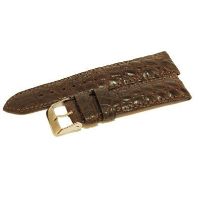 Ремінець для годинника зі шкіри крокодила коричневий ALWS 01 Dark Brown , фото