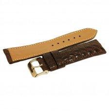 Ремінець для годинника зі шкіри крокодила коричневий ALWS 01 Dark Brown